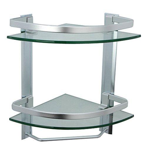 Onkuey Bathroom Corner Glass Shelf with Rail and Towel Bar, 8 MM Extra Thick Tempered Glass Aluminum Wall Mounted Shower Shelving Bathroom Kitchen Storage Shelf (Triangular (Aluminum Glass Rail)