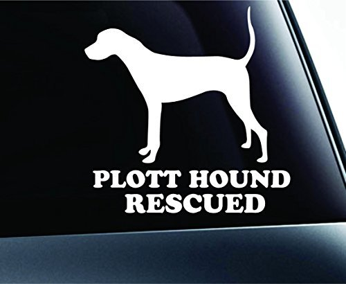 (Plott Hound Rescued Dog Symbol Decal Paw Print Dog Puppy Pet Family Breed Love Car Truck Sticker Window (White), Decal Sticker Vinyl Car Home Truck Window Laptop)