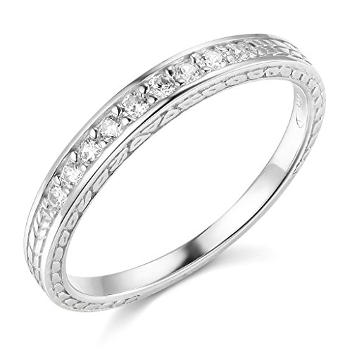 14k White Gold SOLID Wedding Engagement Ring and Wedding Band 2 Piece Set - Size 7 by TWJC (Image #4)
