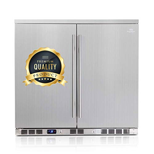 KingsBottle Stainless Steel Beverage Fridge Outdoor – 165.3 pounds, 169 Cans Patio Beer Refrigerator, Sophisticated Temperature Control & Vibration free 2 Door Drinks Cooler – (2-year Warranty)