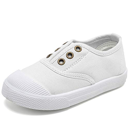 Kids Canvas Sneaker Slip-on Baby Boys Girls Casual Fashion shoes-White-21N1