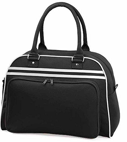 Bag Base–Sacchetto di sport a manici–Retro Bowling Bag bg75–Nero–Unisex