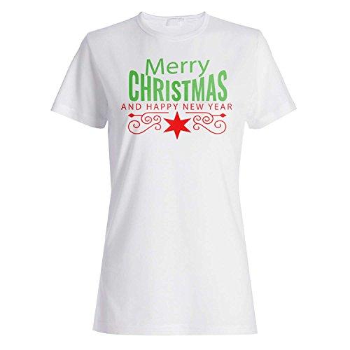 FELIZ FELIZ NAVIDAD AÑO NUEVO FUNNY NOVELTY NUEVO camiseta de las mujeres l25f