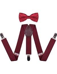 Toddler Boys' Men's Bow Tie and Suspenders Set Y Back Adjustable