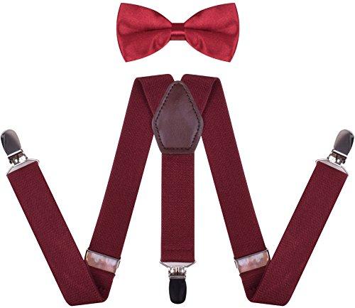 Elastic Adjustable Strong Clip-on Suspender for Boys /& Girls JAIFEI Suspender /& Bow Tie Set Burgundy