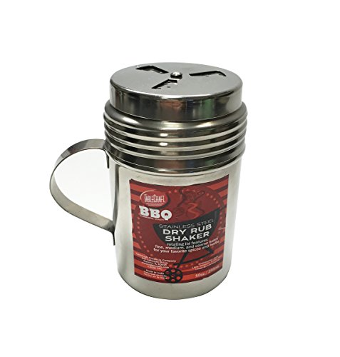 Tablecraft 10 oz, Silver Stainless Steel Dry Rub Shaker with Handle, 10-Ounce (BBQ160H)