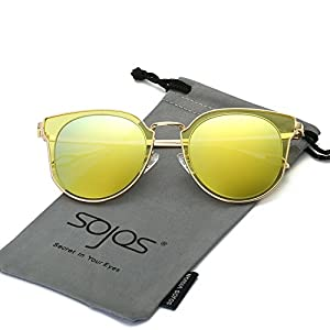 SojoS Fashion Polarized Sunglasses UV Mirrored Lens Oversize Metal Frame SJ1057 With Gold Frame/Yellow Mirrored Lens