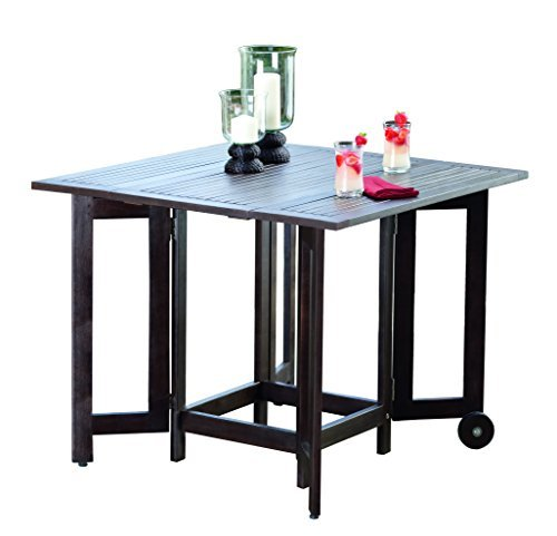Merry Garden Eucalyptus Folding Square Table , Espresso Stain