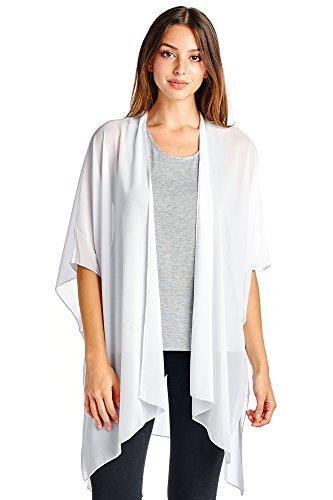 Modern Kiwi Solid Sheer Chiffon Kimono Cardigan White One Size (Sheer Chiffon)