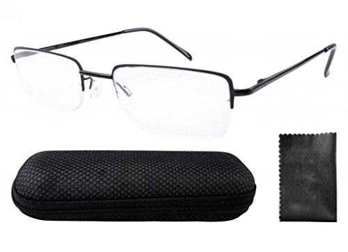 Eyekepper Rectangle Reading Glasses Half Rim Spring Hinges Include Case - Shaped Rectangle Face