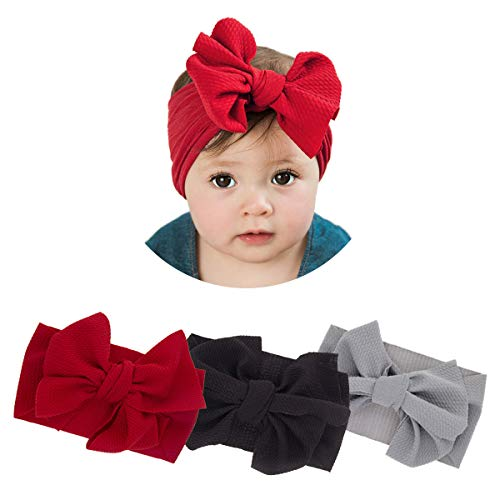 (2019 New Baby Girls Super Stretchy Nylon Headbands Soft Turban Big Bow Headwrap for Toddler Babies (2019-D 3 Pack))