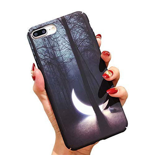 Fusicase for iPhone 8 Plus/iPhone 7 Plus Case Noctilucent Glow in The Dark Design Hard Plastic PC Ultra Thin Cover with Moon Night Forest Rabbit Print Pattern Case for iPhone 8 Plus/iPhone 7 Plus ()