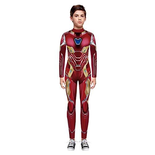 Tsyllyp Girls Boys Child Superhero Halloween Costume Iron Man Jumpsuit Bodysuit -