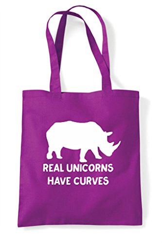 Curves Tote Body Shopper Rhino Positive Have Funny Real Bag Magenta Image Unicorns g4x7EE
