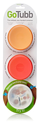 humangear Gotubb 3-Pack, Medium, (2oz), Clear/Orange/red