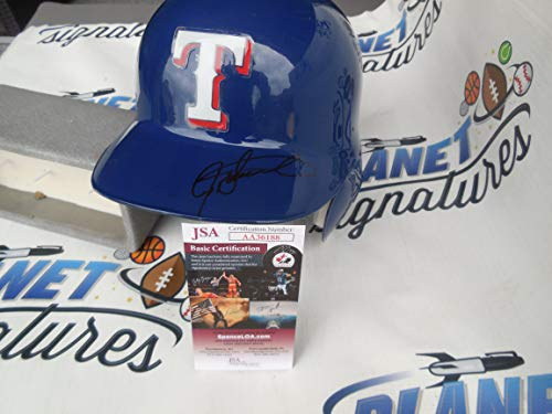 (Ivan Pudge Rodriguez Signed Texas Rangers Full Size Authentic Batting Helmet JSA COA)