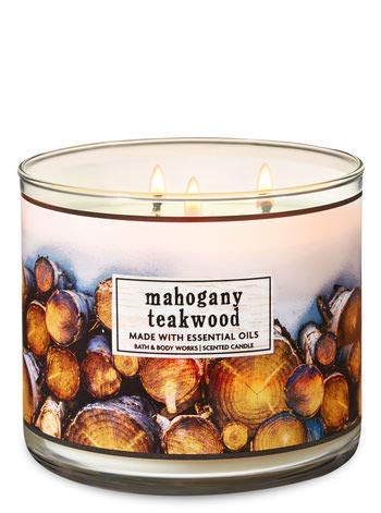 Bath & Body Works 3-Wick Candle Mahogany Teakwood (made with essential oils) (Mahogany Candle Scented)