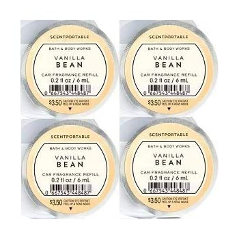 Bath and Body Works 4 Pack Vanilla Bean Scentportable Fragrance Refill 0.2 Oz.