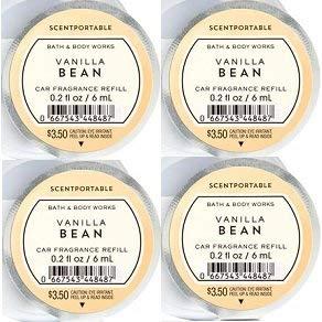 Bath and Body Works 4 Pack Vanilla Bean Scentportable Fragrance Refill 0.2 Oz. (Bath Body Works Car)