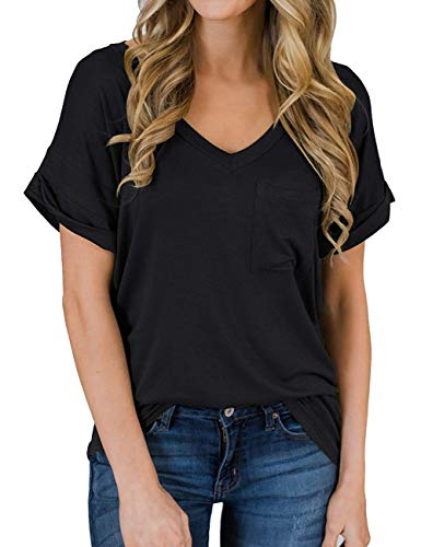 - MEROKEETY Women's Summer V-Neck Short Sleeve Loose Casual T-Shirt Tops with Pocket Solid Black