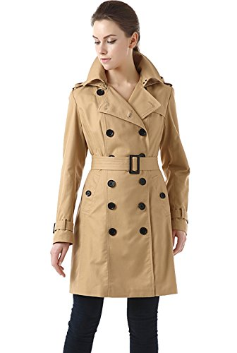 BGSD Women's Alexa Waterproof Classic Hooded Long Trench Coat - Tan XS Breasted Hooded Trench Coat