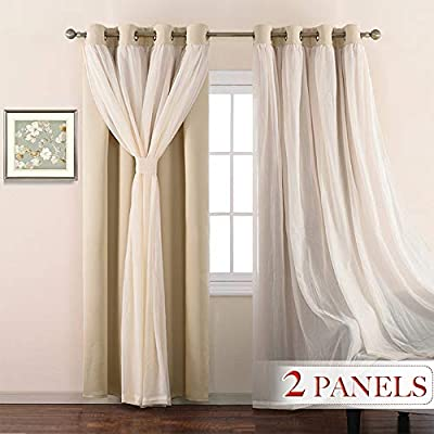 "NICETOWN Double-Layer Mix & Match Dressing Biscotti Beige Sheer Plus Blackout Curtains for Sliding/Patio Door, Window Treatment Draperies (1 Pair, 95-inches Long, Tie Backs Included) - READY MADE: Package includes 2 crushed sheer layer attached over 2 blackout curtain panel. Curtain measures 52""wide per panel. 1.6"" diameter grommet fits various standard or decorative curtain rods. ELEGANT STYLISH: Innovative blackout fabric provides maximum privacy while crinkled sheer panel brings an airy look. Both layers come with a tie back for different styling. BUDGET FRIENDLY: Ruffled-looking 2 set mix & match curtains can cover a regular-sized window solely. Double layer curtain panels provide light control and insulation, prevents energy related loss. - living-room-soft-furnishings, living-room, draperies-curtains-shades - 41spg5b4H2L. SS400  -"