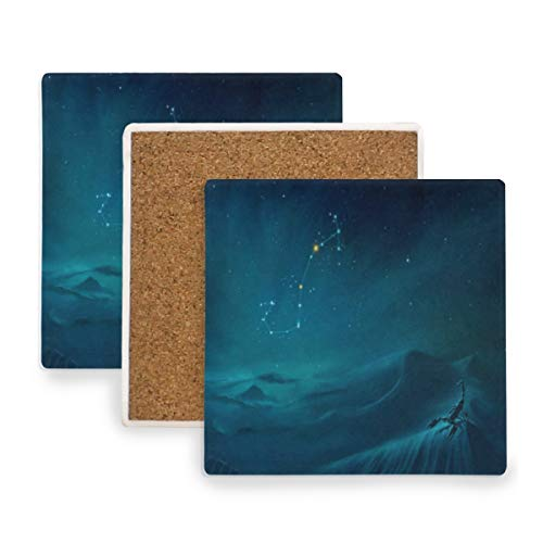 (Large Square Drink Coasters,Scorpius Constellation Painting Ceramic Thirsty Stone With Cork Back Cup mats Protect Your Furniture From Spills,Scratches,Water Rings and Damage 4pcs )