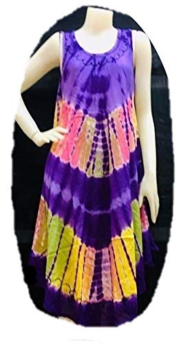 - PunPund Women Maxi Sleeveless from India Tie Dye Batik Embroidery Vintage Violet Dress Color Boho Rayon Free Size 1 Pc.