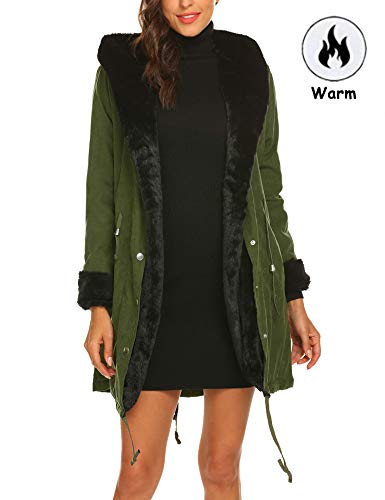 Shine Womens Military Hooded Warm Winter Faux Fur Lined Parkas Long -