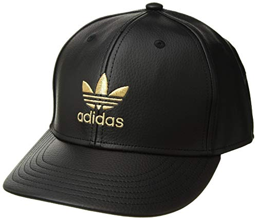 adidas Men's Originals Trefoil Mixed Snapback Cap, black leather/gold, One Size