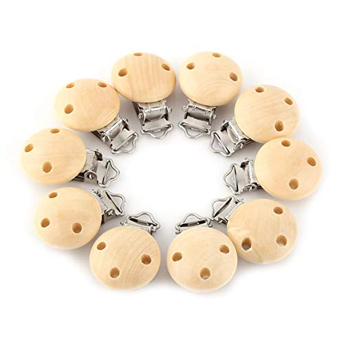 Baby Pacifier Clip Natural Wood Cute Round Charm Infant Nipple Clasps 3 Holes 10 Pcs/Lot