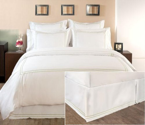 - Home Decorators Collection Hotel Embroidered Box pleat Bedskirt, KING, COTTAGE HILL