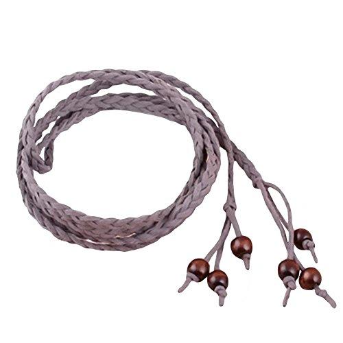 Aquarius CiCi Womens Slim Leaves Weave Leather Self Tie Wrap Waist Band Cinch Belt