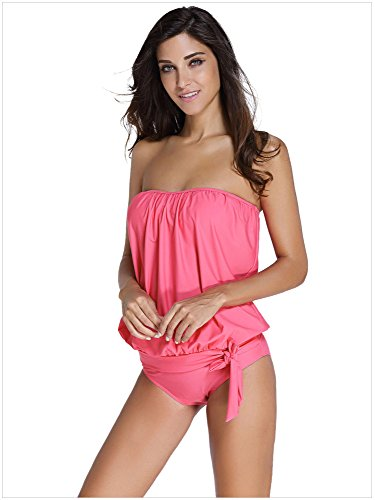 Minetom Bañador Tankini De Dos Piezas Mujer Bikini Top Shorts Verano Elegante Cómodo Beach Swimwear Sujetador De Estilo Halter Pink