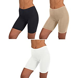 Womens 3 Pack Active Dance Running Yoga Bike - Boy Short Boxer Briefs (XL/8, 3 PK -BLACK/HAZELNUT/WHITE)