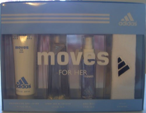 Adidas Moves by Adidas for Women - 4 Pc GiftSet 1.7oz EDT Spray, 6.7oz Body Lotion, 2.0oz Body Mist, Adidas Headband by adidas