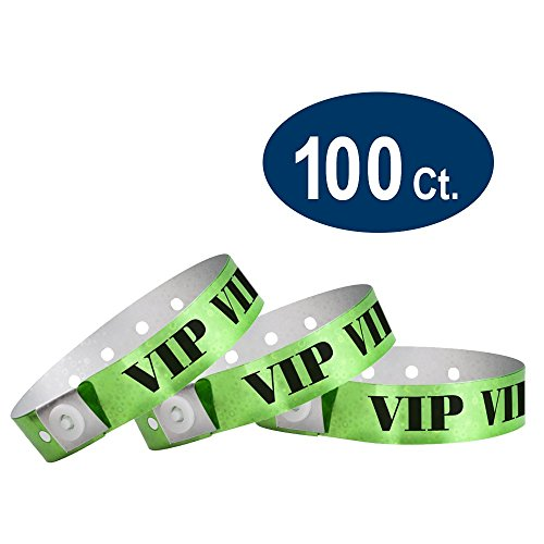 WristCo Holographic Green VIP Plastic Wristbands - 100 Pack Wristbands For Events