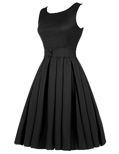 Dress A Women's ACEVOG Hepburn Cocktail Rockabilly Swing 50's black Inspired Vintage Audrey R6RxqAwT
