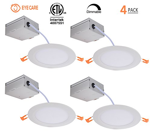 Recessed Ceiling Fixtures (6 Inch Slim Downlight Dimmable 12W (=100W) Led Downlight 950LM 3000K Warm White cETLus listed Recessed Trim Ceiling Light Fixture 4 Pack (3000K Warmlight))