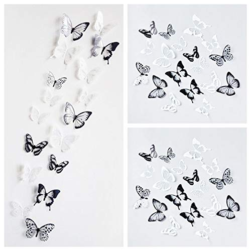 Letitia Matthew 72 PCS 3D Butterfly Wall Decal Crystal Black and White Wall Stickers DIY Art Decor for Nursery Bedroom Party Decorations Glue Sticker Set, Removable and Waterproof