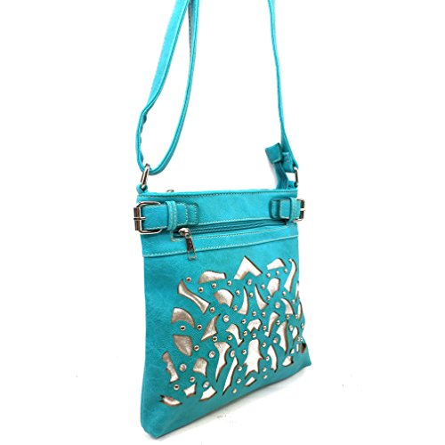 Carry Rhinestone West Laser Messenger Purse Cross Handbag Body Gleaming Cut Concealed Silver Justin Turquoise xwEUgtw
