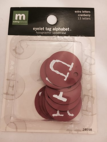 Alphabet Eyelet Tag - Making Memories Cranberry Eyelet Tag Alphabet