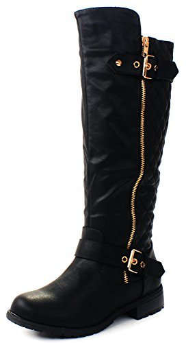 JJF Shoes Mango-21 Women's Winkle Back Shaft Side Zip Knee High Flat Riding Boots Black ()