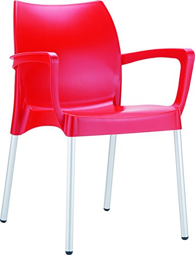 Clear Chair Store 047R Dolce Indoor and Outdoor Stacking Arm Chair (Set of 4), Red