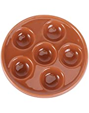 DOITOOL Ceramic Escargot Plates 6 Compartment Holes Snail Dish Takoyaki Trays Oyster Serving Trays Oyster Pan Shell Dishes for Sauce Lemons Oysters (Red)