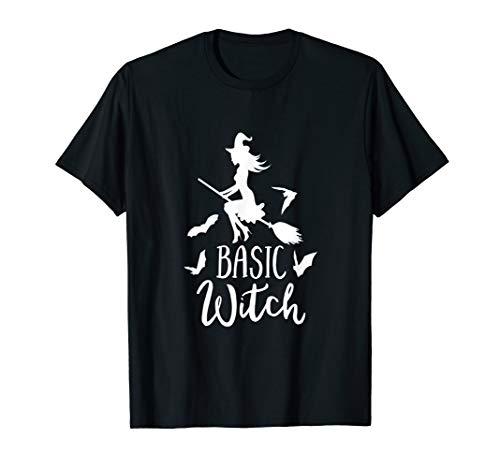 Halloween Shirt Basic Witch Broom Bats Party Mom Wife Bestie