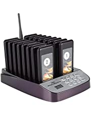 Restaurant Pager System,ASHATA Wireless Calling System/Restaurant Call Coaster Pagers/Guest Waiting Pager 16 Channels Keyboard with 16 Coaster Pager,Charging Dock and Call Button Keypad(Black)
