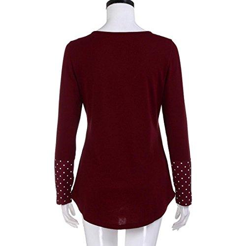 femmes manches T Vtements V longues 2XL chemise manches chemisier Mode atmosphrique manches col bouton chemisier LILICAT S shirt Wine col FqZvqt