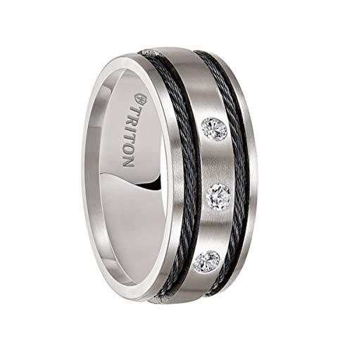 Triton Ring Titanium Satin Finish Comfort fit Diamond Band with Black Steel Cable -