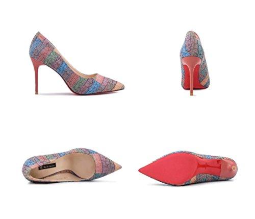Tacchi colore Sottolineato Estate Dello Femminili Profonda Moda Bocca Tacco 34 Rosa Scarpe Poco Alti Sandali toe Epoca Stiletto Sexy Dimensioni AwwdOgqa